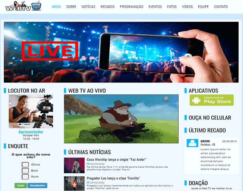SITES PARA WEB TV